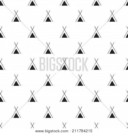 Cute Hand Drawn Nursery Seamless Pattern With Wigwam In Scandinavian Style. Vector Illustration