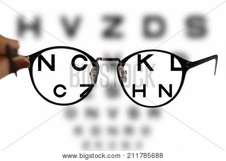 Myopia Correction Glasses On The Eye Chart Letters