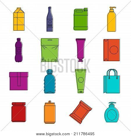 Packaging items icons set. Doodle illustration of vector icons isolated on white background for any web design