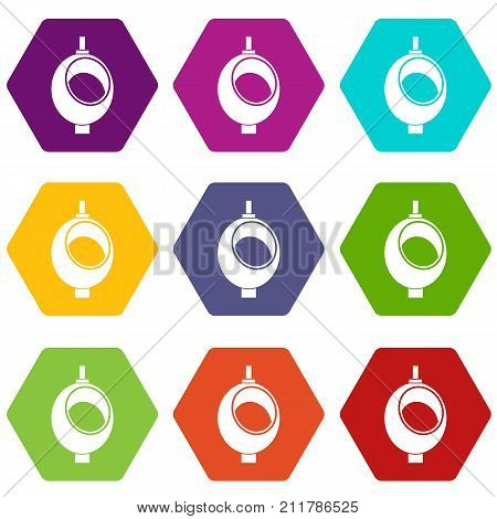 Urinal or chamber pot for men icon set many color hexahedron isolated on white vector illustration