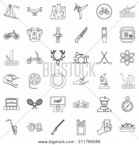 Hobby icons set. Outline style of 36 hobby vector icons for web isolated on white background