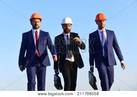 Consrtuction Concept. Board Of Architects Wear Suits