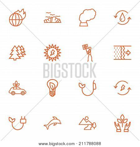 Collection Of Pollution, Water, Ecologist And Other Elements.  Set Of 16 Bio Outline Icons Set.