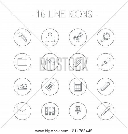 Collection Of File Folder, Puncher, Paper Clamp And Other Elements.  Set Of 16 Tools Outline Icons Set.