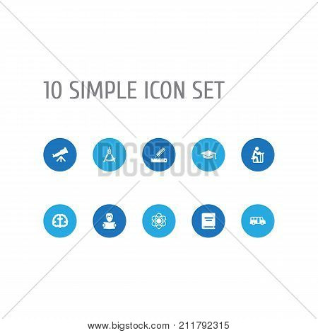 Collection Of Reading, School Autobus, Academic Hat And Other Elements.  Set Of 10 Education Icons Set.