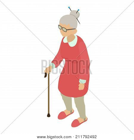 Grandmother icon. Isometric illustration of grandmother vector icon for web