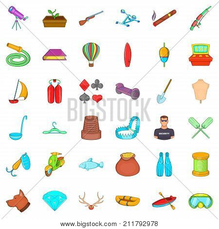 Floating icons set. Cartoon style of 36 floating vector icons for web isolated on white background