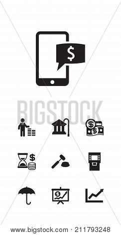 Collection Of Economy, Online Banking, Umbrella And Other Elements.  Set Of 10 Finance Icons Set.