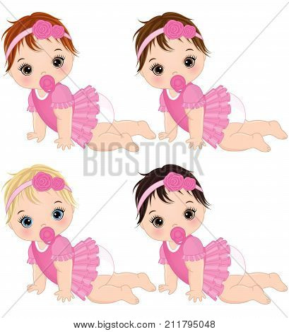 Vector cute baby girls crawling. Vector baby girls with various hair colors. Vector baby girl. Baby girls vector illustration