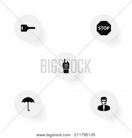Collection Of Open, Sign, Walkie-Talkie And Other Elements.  Set Of 5 Procuring Icons Set.