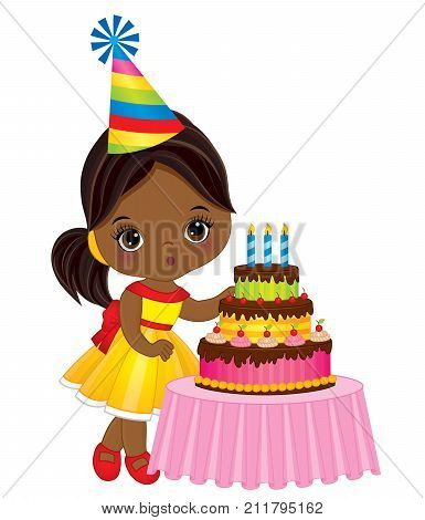 Vector cute little African American girl blowing out candles on birthday cake. Vector birthday party. Vector little girl. Little African American girl with birthday cake vector illustration