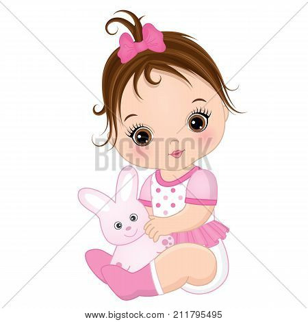 Vector cute baby girl with toy bunny. Vector baby girl. Baby girl vector illustration