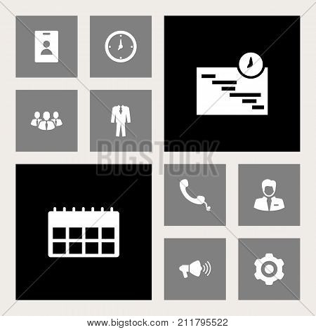 Collection Of Worker, Time, Id Card And Other Elements.  Set Of 10 Trade Icons Set.