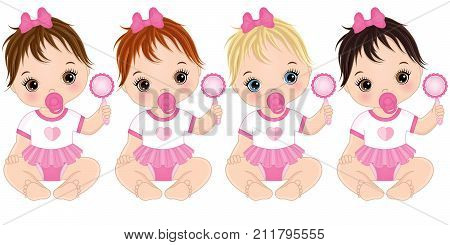 Vector cute baby girls with rattles sitting. Vector baby girls with various hair colors. Vector baby girl. Baby girls vector illustration