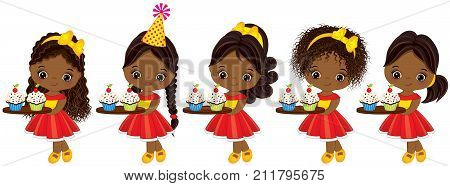 Vector cute little African American girls holding trays with cupcakes. Vector little girls with various hairstyles. Vector little girl. Little African American girl with cupcakes vector illustration