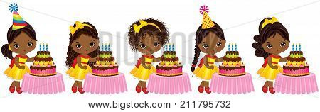 Vector cute little African American girls blowing out candles on birthday cakes. Vector little girls with various hairstyles. Little African American girls with birthday cakes vector illustration