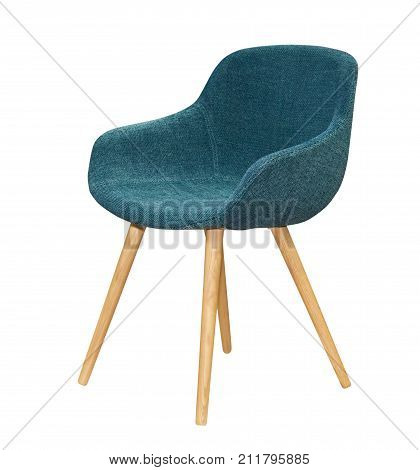 Modern textile blue chair isolated on white background