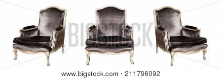 Textile classic grey chair isolated on white background. View from different sides - front and two side views