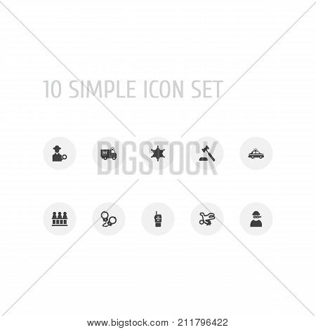 Collection Of Truck, Inspector, Police Car And Other Elements.  Set Of 10 Crime Icons Set. poster