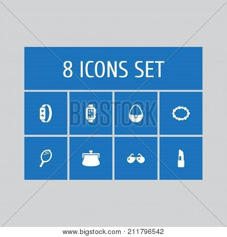 Collection Of Smart Watch, Gadget, Handbag Elements.  Set Of 8 Decorating Icons Set.