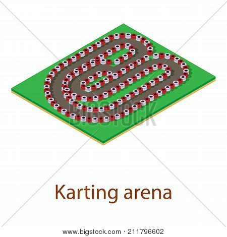 Karting track icon. Isometric illustration of karting track vector icon for web