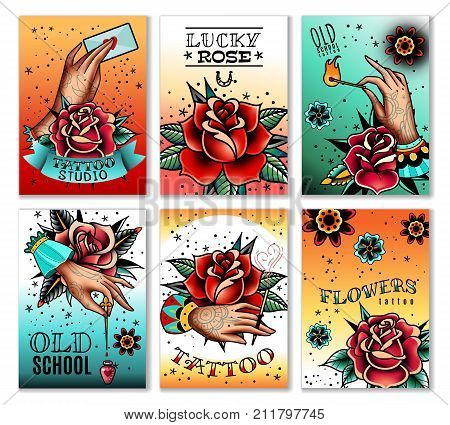 Old school tattoo art roses and hands mini cards banners. Old school tattoo cards. Vector illustration