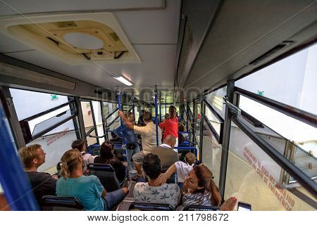 Nazare, Portugal - August 14, 2017: People inside cabin of Nazare Funicular that from Sitio descending to Praia. Ascensor of Nazare is a funicular linking lower part of Nazare to top above cliffs.