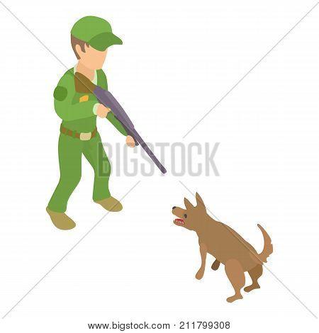 Dog catcher character icon. Isometric illustration of dog catcher character vector icon for web