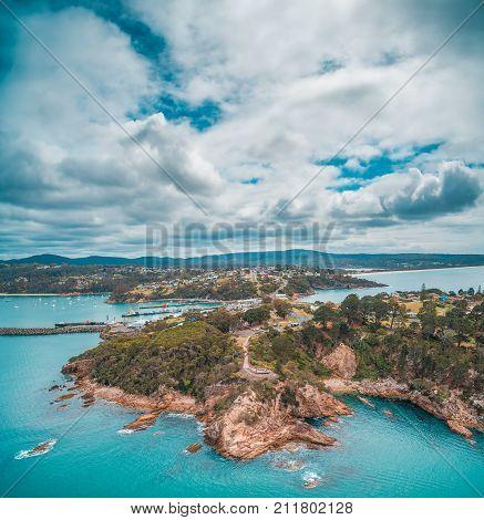 Aerial view of rugged ocean coastline near Eden NSW Australia