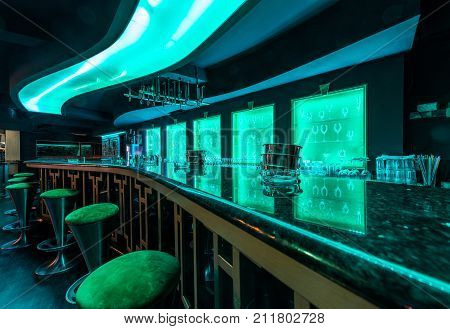 Ineterior design od discotheque , bar and stools