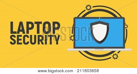 Laptop security. Laptop in flat design on yellow background. Antivirus concept.