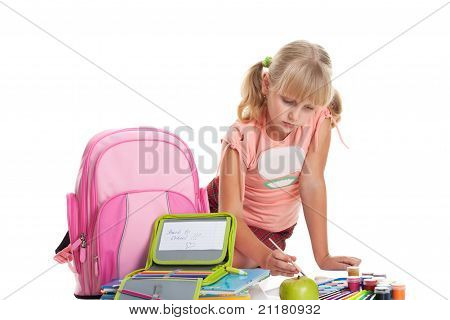 Back To School,  Girl And School Appliances Isolated On White