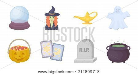 Black and white magic icons in set collection for design. Attributes and sorceress accessories vector symbol stock  illustration.