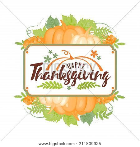 Thanksgiving typography.Happy Thanksgiving Day - Hand painted lettering with stylized pumpkins and leaves in pastel colors perfect for Thanksgiving Day.Thanksgiving design for cards, prints and more.