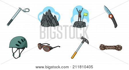 Mountaineering and climbing icons in set collection for design. Equipment and accessories vector symbol stock  illustration.
