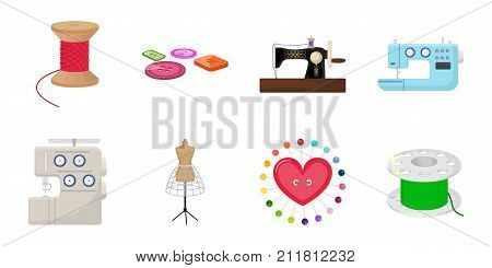 Atelier and equipment icons in set collection for design. Sewing of outer clothing vector symbol stock  illustration.