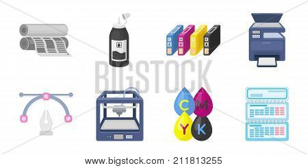 Typographical products icons in set collection for design. Printing and equipment vector symbol stock  illustration.