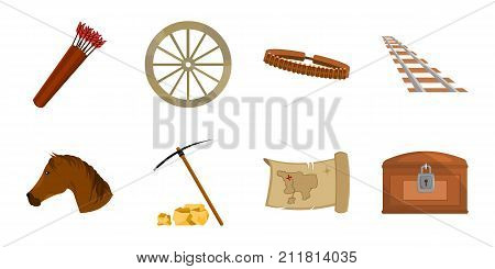 Attributes of the wild west icons in set collection for design. Texas and America vector symbol stock  illustration.