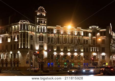SAINT PETERSBURG, RUSSIA - NOVEMBER 03, 2014: Profitable modern house of K. Keldal. Built in 1902-1903 by the architect V. Schaub. Such houses is most common types of historical buildings in the city