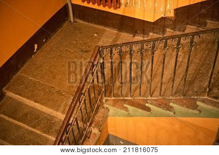 Typical old staircase in a residential building built in the first half of the 20th century. Saint-Petersburg (between 1924 and 1991 named Leningrad) Russia.