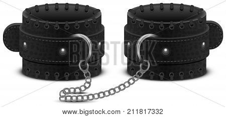 Black leather handcuffs on chain. Accessory toy for fetish bdsm game. Isolated on white vector illustration