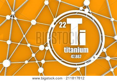Titanium chemical element. Sign with atomic number and atomic weight. Chemical element of periodic table. Molecule And Communication Background. Connected lines with dots. 3D rendering