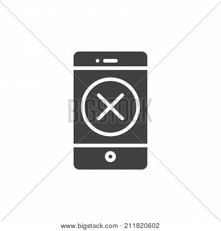 Smartphone with delete button icon vector, filled flat sign, solid pictogram isolated on white. Mobile phone with cross symbol, logo illustration.