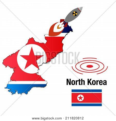 flag map launching missile North Korea, nuclear bomb, nuclear test missile