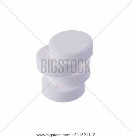Paracetamol Medicine Tablets Isolated On White Background