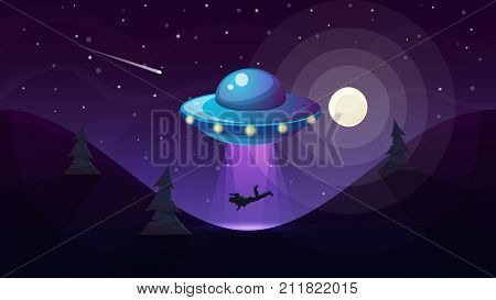 UFO kidnaps a person - cartoon illustration. Vector, eps 10