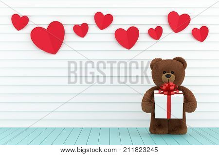 A photo of Teddy bear holding a gift box 3D render with blender freeware