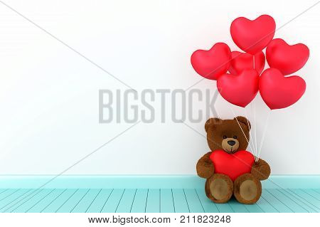 A photo of Teddy bear holding balloon heart sharp with white background 3D Render with blender freeware