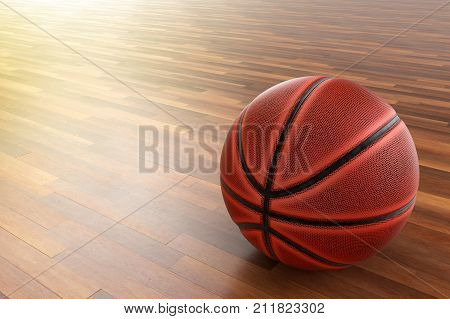 A photo of Basketball on wood floor 3D rendering with blender freeware