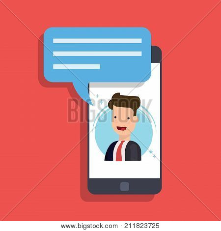 Concept of an incoming message on a mobile phone. Businessman or manager speaks on the smartphone screen. Video call or conference